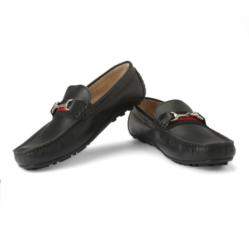 Careeno Callisto Boys' Black Leather Loafers