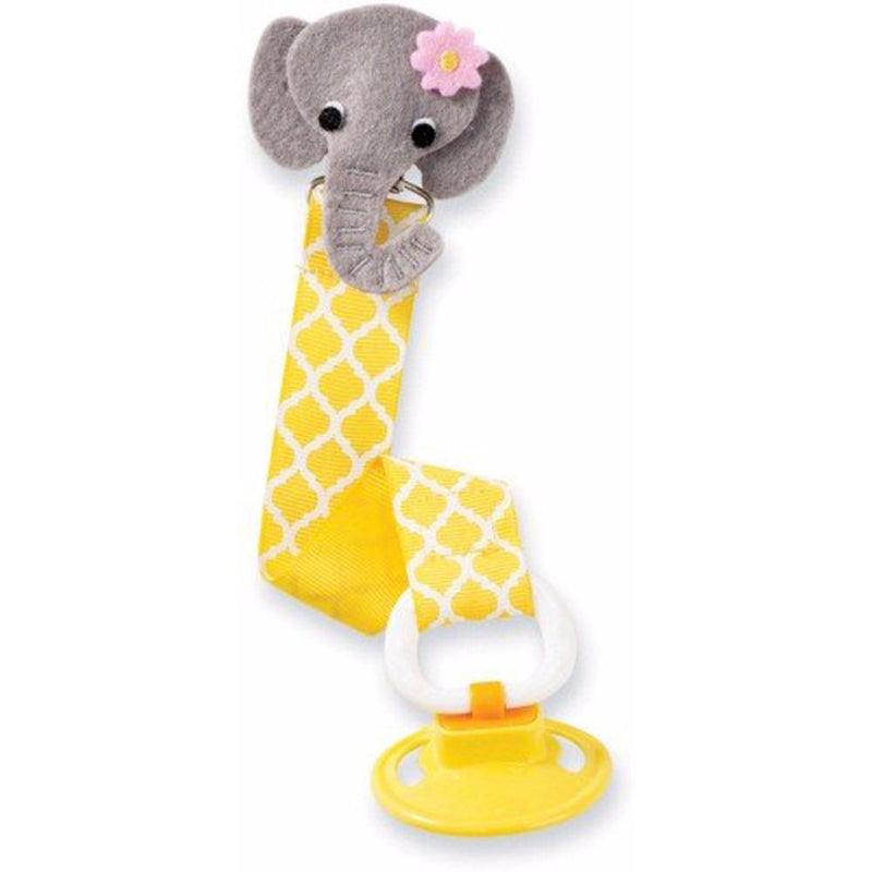 Babies Bloom Elephant Yellow Pacifier Clip - Set of 2