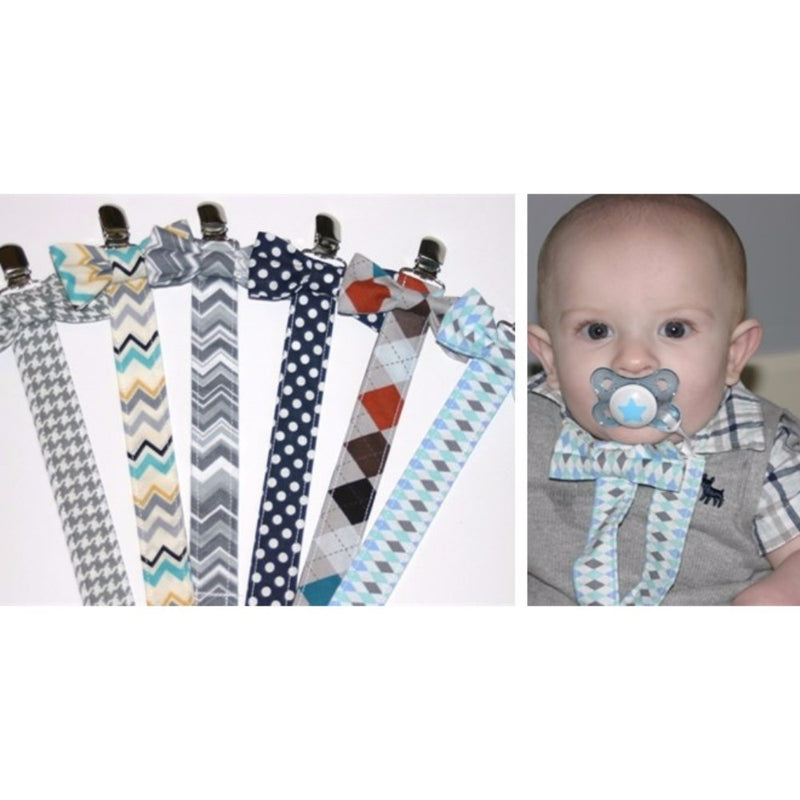 Babies Bloom Blue Tie Pacifier Clip - Set of 2