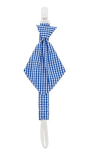 Babies Bloom Blue Check Necktie Pacifier Clip