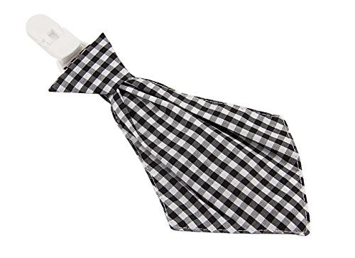 Babies Bloom Bold Black and White Check Necktie Pacifier Clip
