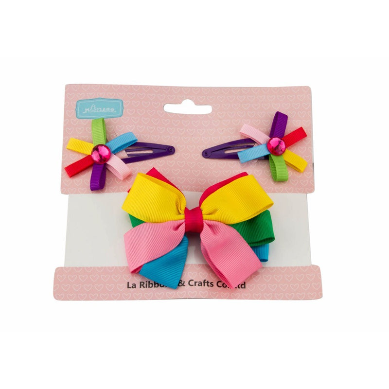 Babies Bloom Multicolored Baby Hair Bow and Clip Set
