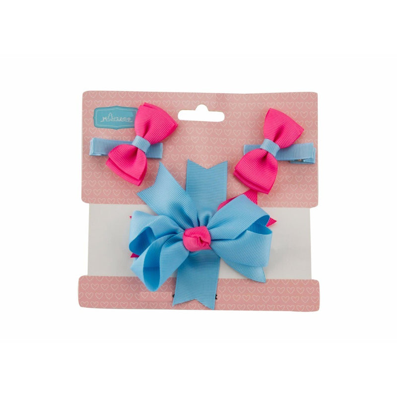 Babies Bloom Pink and Blue Fashion hair bow and Clip Set