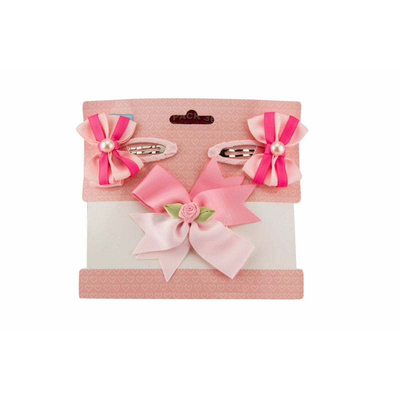 Babies Bloom Diamond Pink Hair Bow and Clip Set