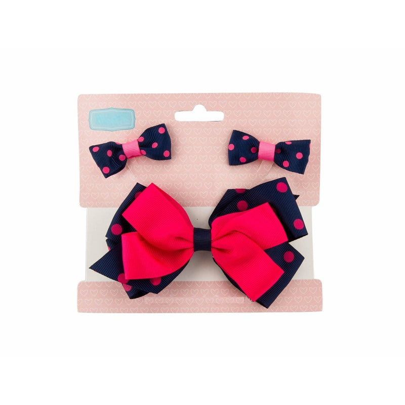 Babies Bloom Christmas Red and Black Hair Bow and Clip Set