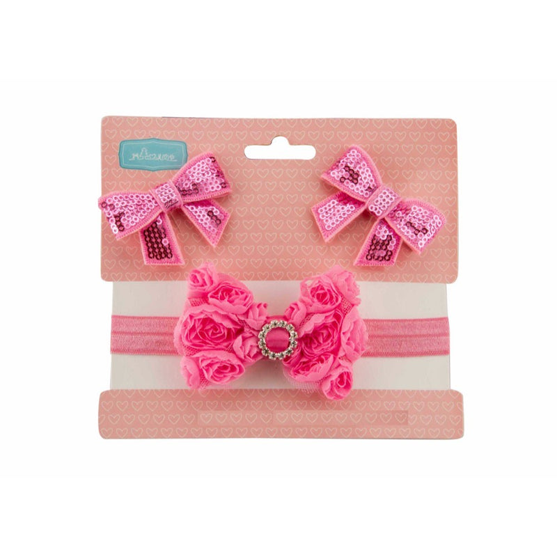 Babies Bloom Party Pink Ribbon Bow Hair Band with Hair Clip Set