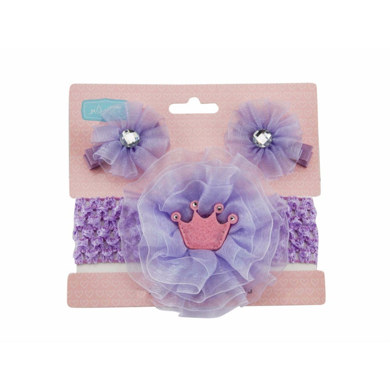 Babies Bloom Purple Ribbon Bow Hair Band with Hair Clip Set