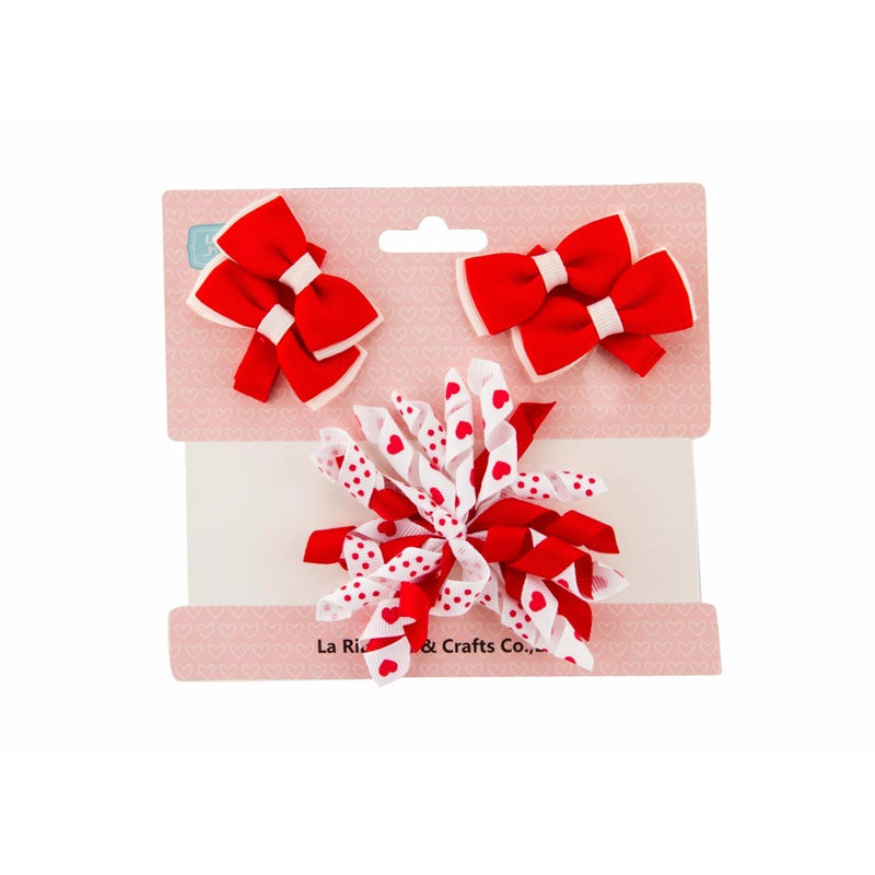 Babies Bloom Korker Red and White Hair Bow and Clip Set