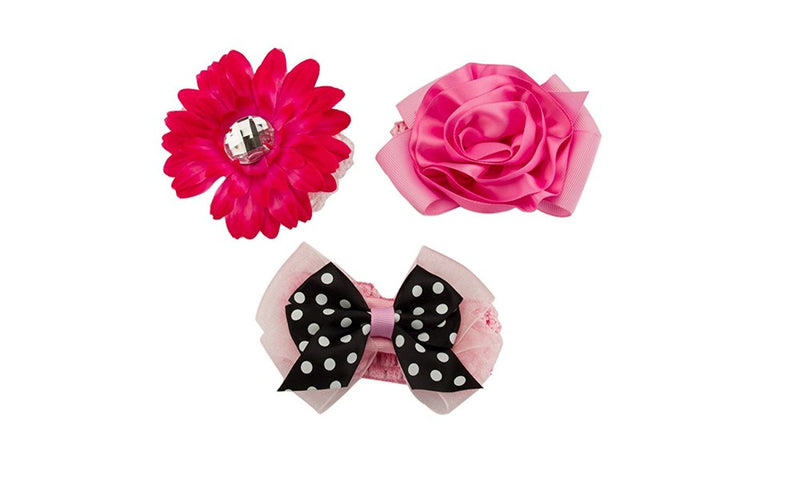 Babies Bloom Colorful Red and Pink Elastic Hair Tie Hair Accessory Set
