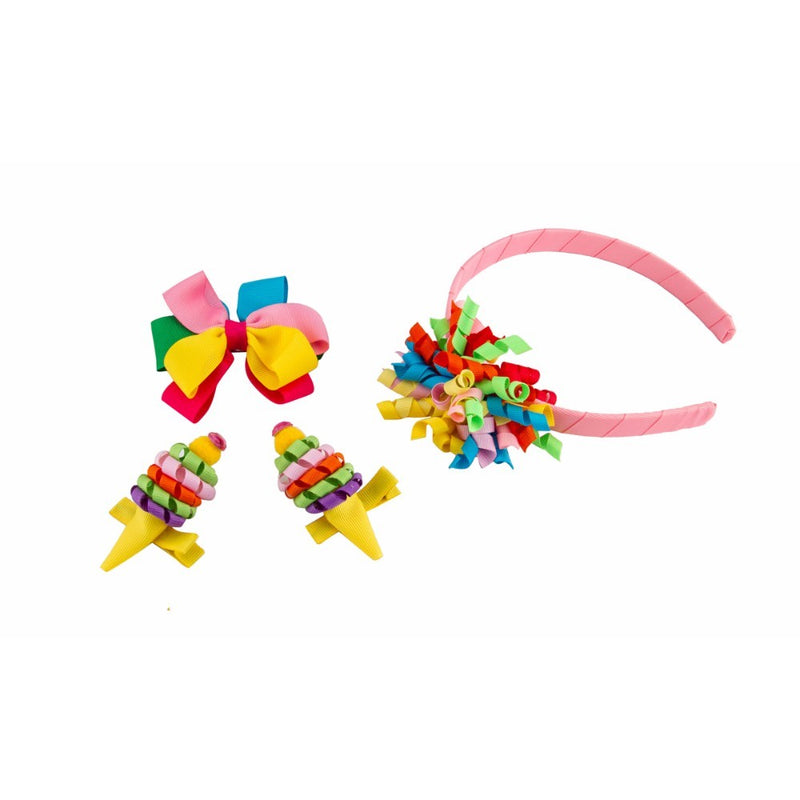 Babies Bloom Korker Flower Headband and Hair Clip Accessory Set - Pack of 4