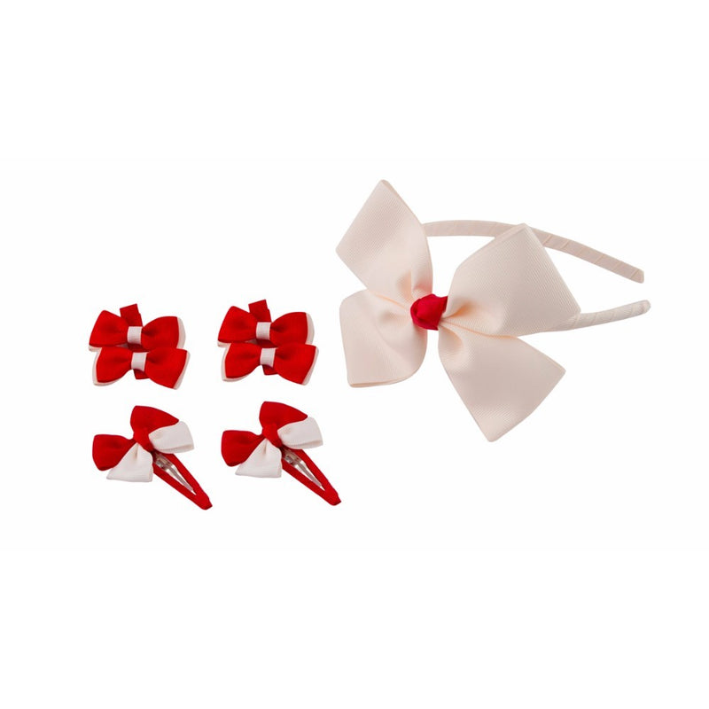 Babies Bloom Designer Red Hair Bow, Headband and Hair Accessory Set - Pack of 5