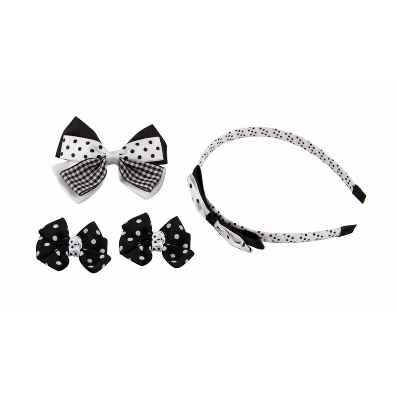 Babies Bloom Dotted Black and White Hair Bow and Headband Set - Pack of 4