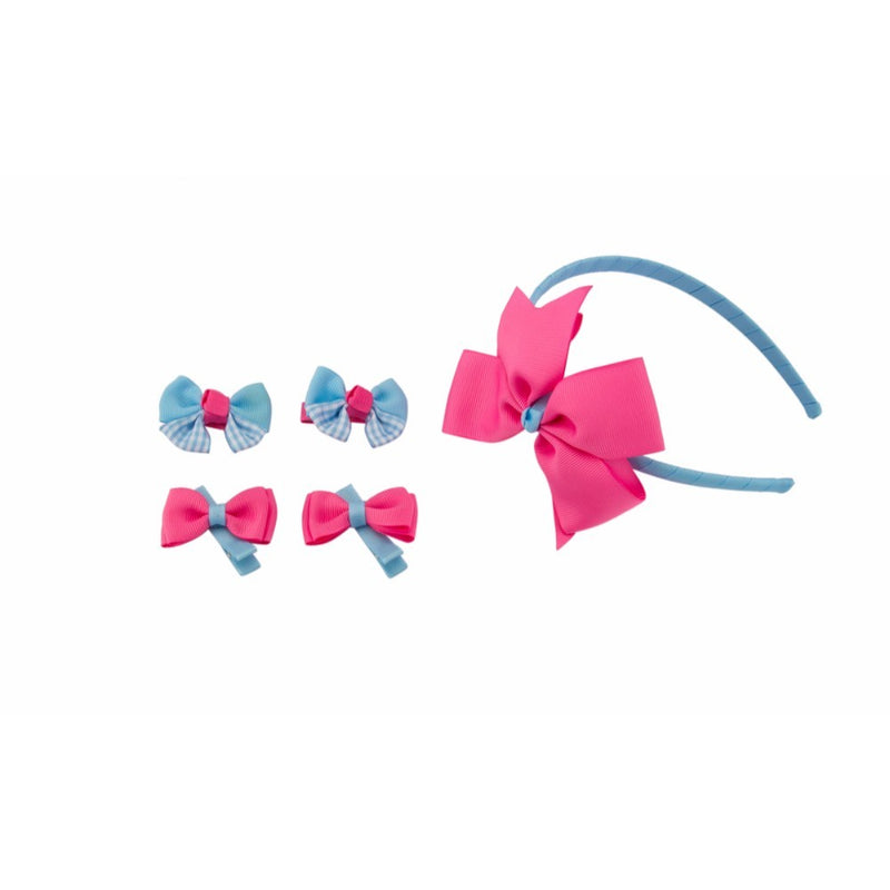 Babies Bloom Crafted Blue and Pink Kids Hair Accessories Headband Set - Pack of 5