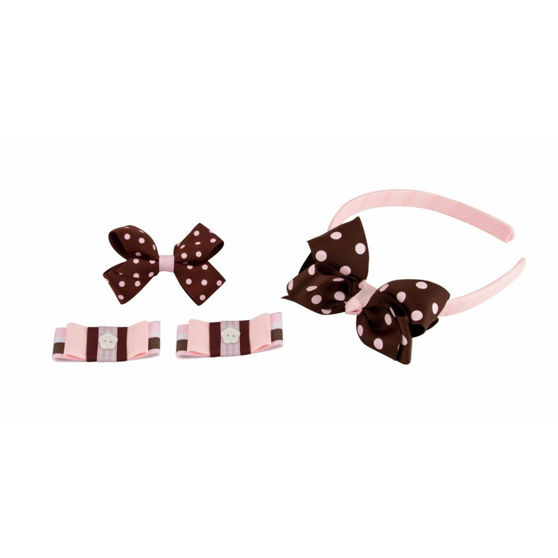 Babies Bloom Brown Polka Dot Baby Hairband and Hair Clip Accessory Set - Pack of 4