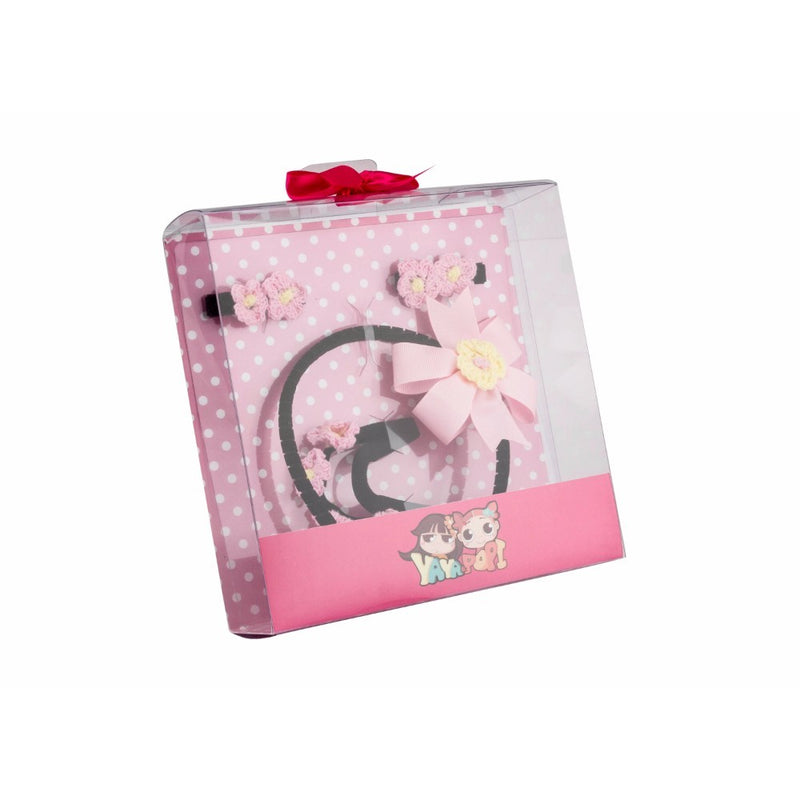 Babies Bloom Pink Kitty Hair Bow and Headband Gift Set - Pack of 4
