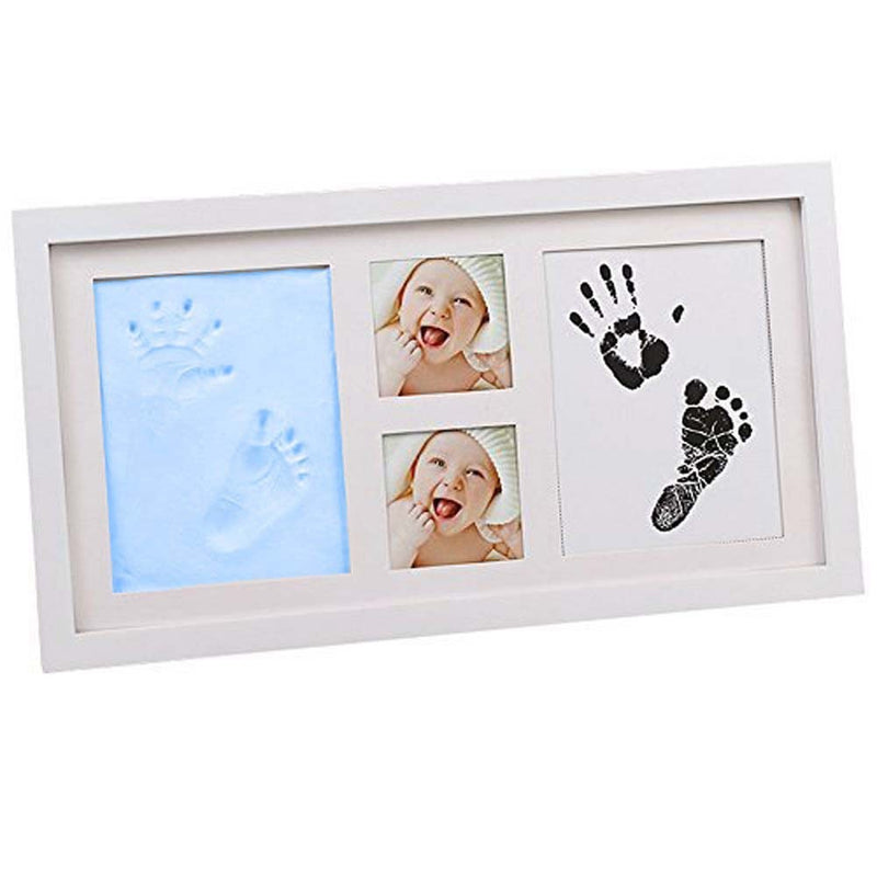 Babies Bloom Blue Baby Hand Footprint Picture Frame Kit with Clay Safe Acrylic Glass