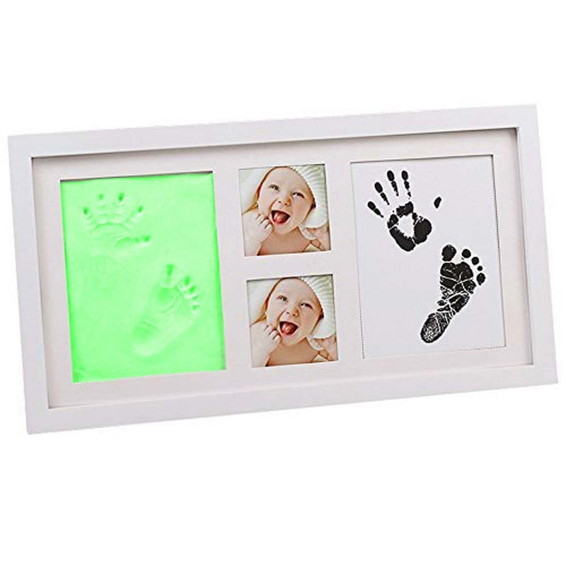Babies Bloom Green Baby Hand Footprint Picture Frame Kit with Clay Safe Acrylic Glass