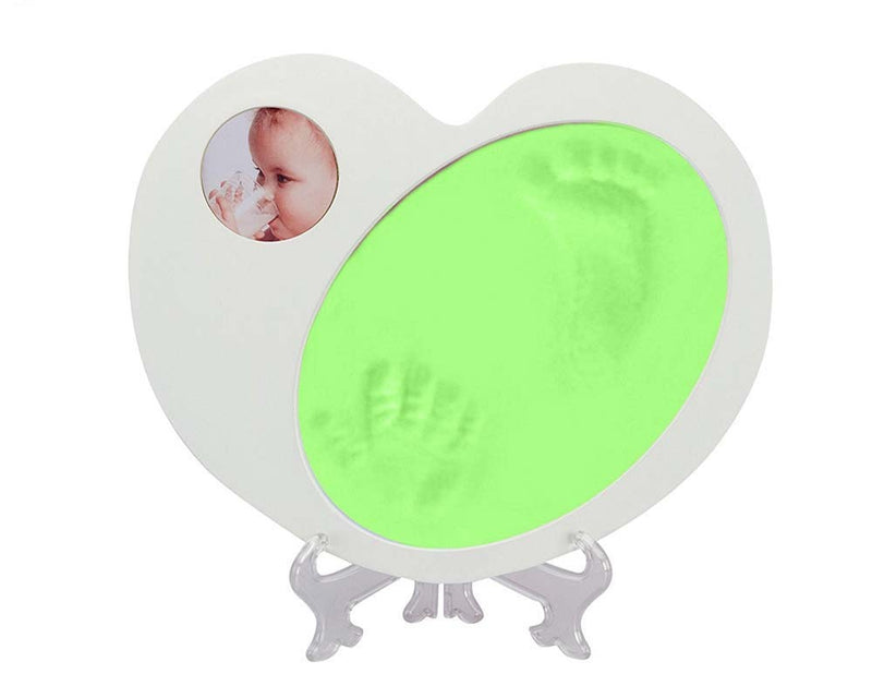 Babies Bloom Heart Shaped Baby Boy First Imprint Frame - Green and White
