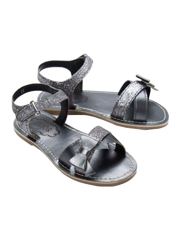 Cujos Zafka Glittery Straps With Bow Sandals - Black