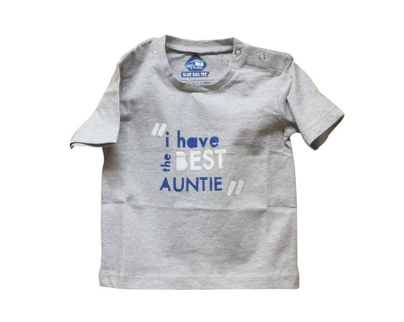 Blue Bus Store Grey Best Auntie Printed T-shirt