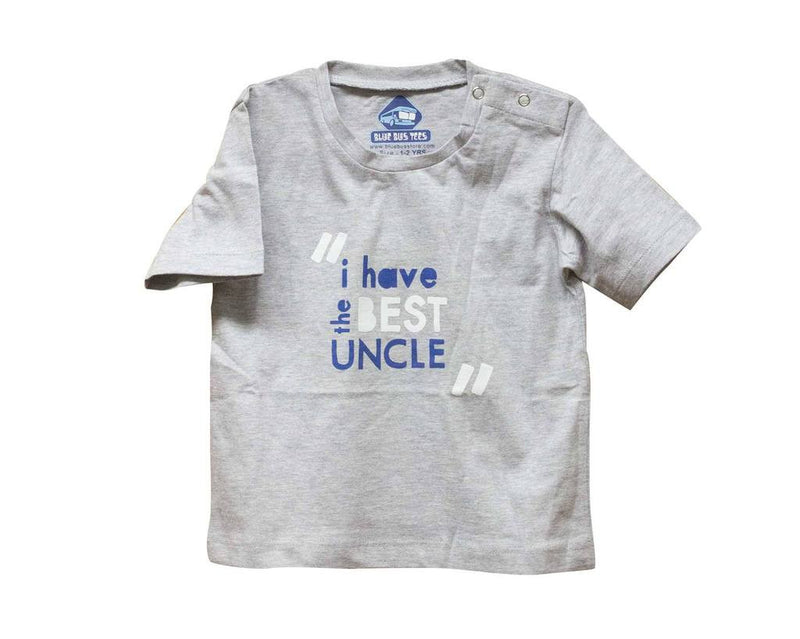 Blue Bus Store Grey Best Uncle Printed T-shirt