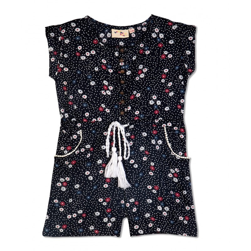 Budding Bees Girls Black Floral Printed Jumpsuit