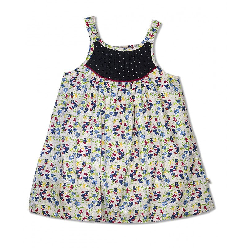 Budding Bees Girls Blue Floral Printed Balloon Dress