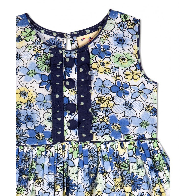 Budding Bees Girls Blue Floral Printed Layered Dress