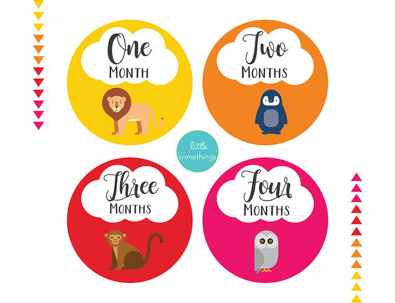 Little Somethings Set of 12 Little Animals Baby Milestone Stickers