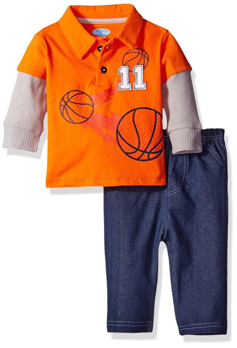 BON BEBE Baby Boys' 2 Piece Long sleeve Collared Shirt with Denim Pant