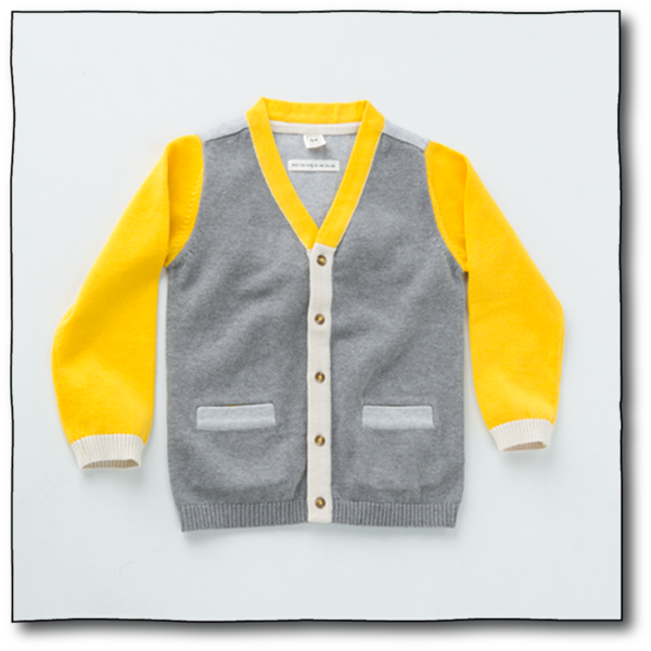 Milk teeth Boys' Yellow and Grey Michu Cardigan