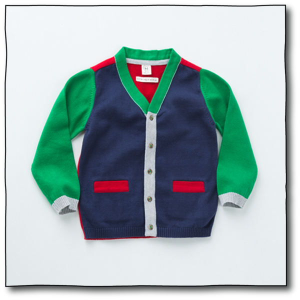 Milk teeth Boys' Navy and Green Michu Cardigan