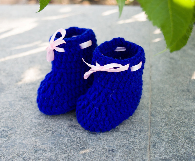Love Crochet Art Dark Blue Knitted Ankle Booties