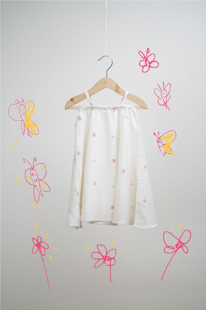 The Butterfly Chase' in White Pink Jamdani Dress for girls