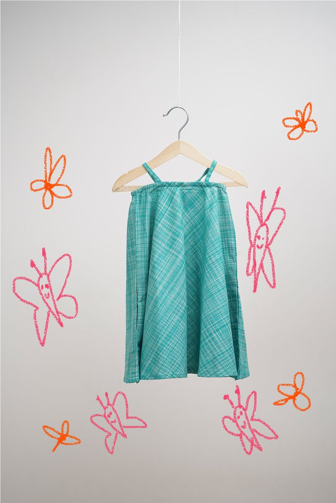 The Butterfly Chase' in Green Dress for girls