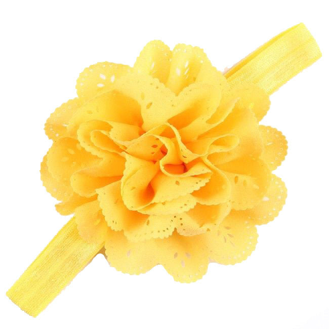 Bellazaara Girls' Yellow Eyelet Flower Headband with Pearl Crystal