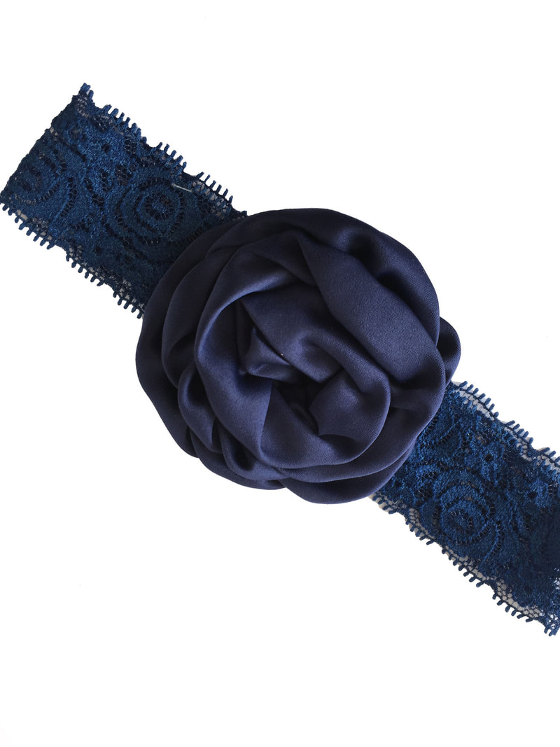 Bellazaara Girls' Navy Blue Christening Baby Lace Rose Headband