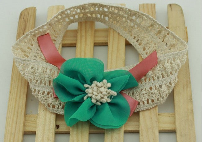 AkinosKIDS Turquoise Innocent Floral Ribbon Headband