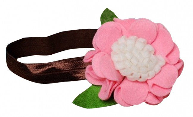 AkinosKIDS Light Pink and Brown Rosette Ruffle Fall Headband