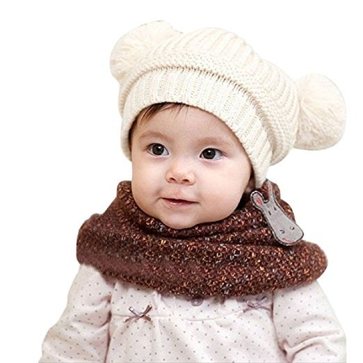 Bellazaara Kids' White Cute Baby Dual Balls Warm Winter Beanie Knitted Cap