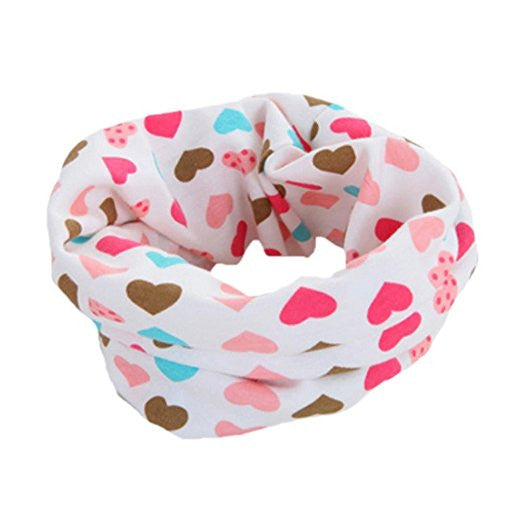 Bellazaara Kids' Pink Autumn Winter O-Ring Infinity Hearts Printed Neck Scarf