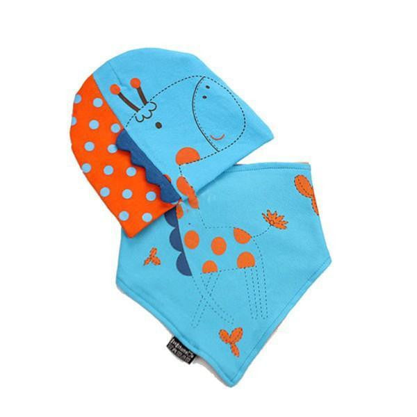 Bellazaara Kids' Blue Hedging Cap and Triangle Bibs Towel Set