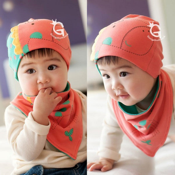 Bellazaara Kids' Orange Hedging Cap and Triangle Bibs Towel Set