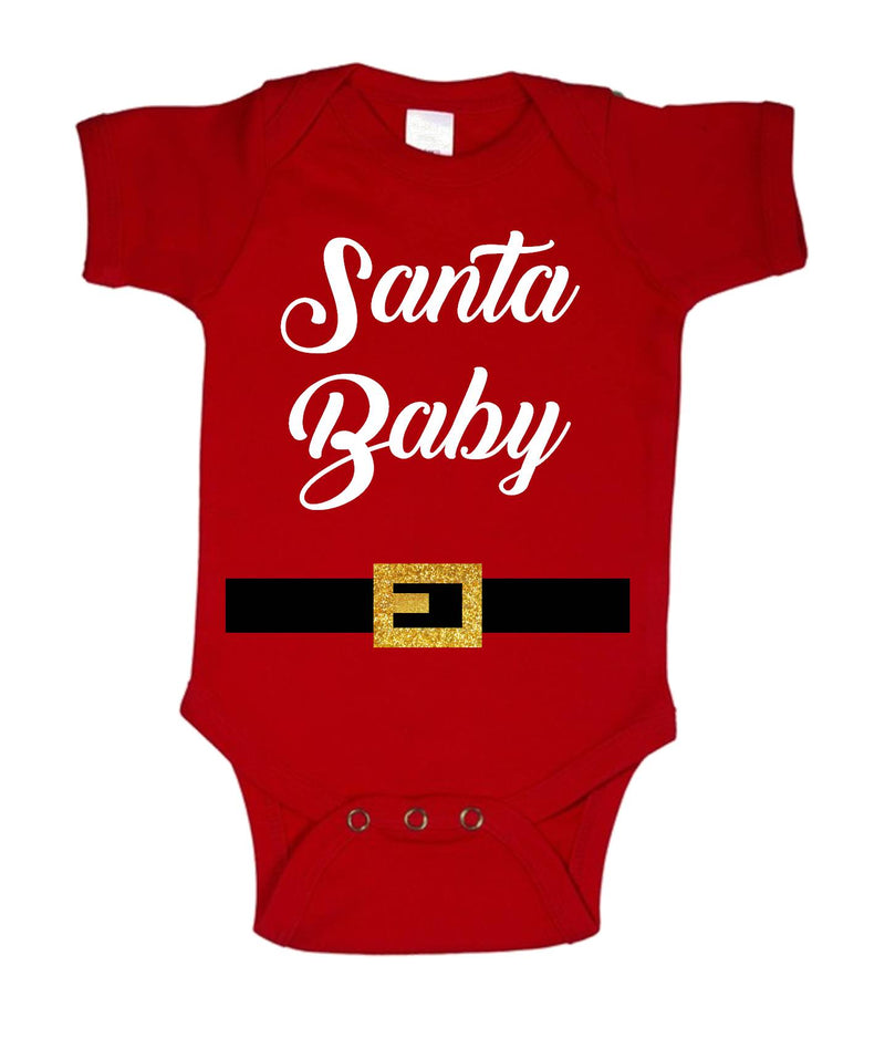 Santa Baby Printed White and Red Christmas Customizable Romper