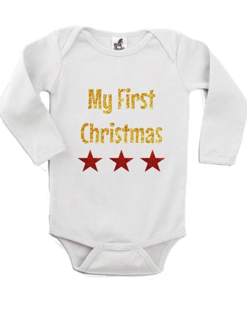 My First Christmas Printed White Christmas Customizable Romper