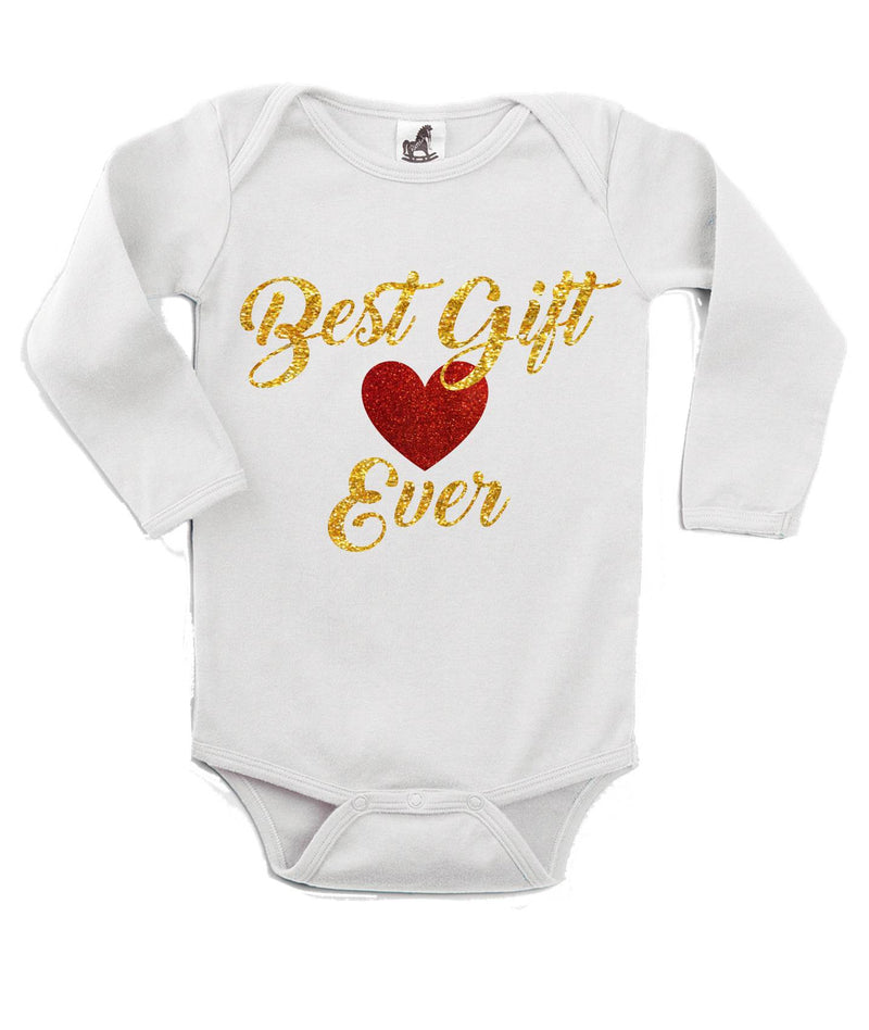 Best Gift Ever White Christmas Customizable Romper