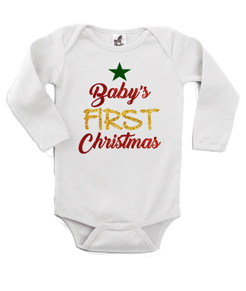 First Christmas Printed White Christmas Customizable Romper