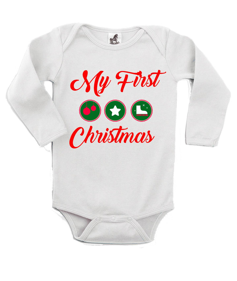 My First Christmas Printed Red and White Christmas Customizable Romper