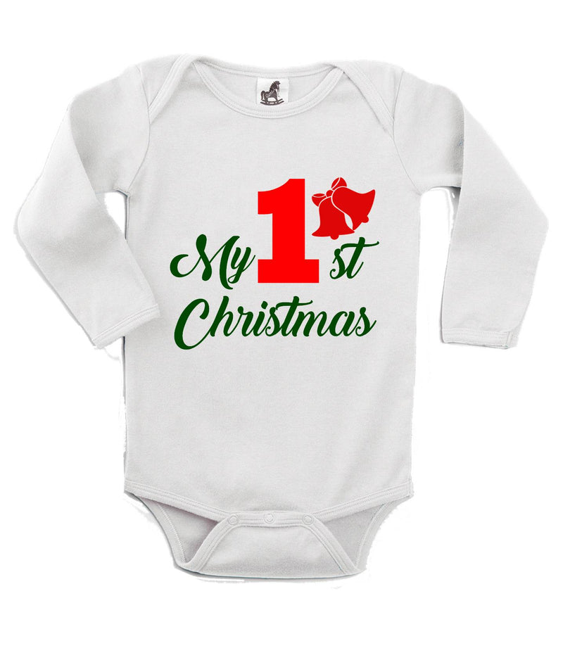 My 1st Christmas Printed Green and White Christmas Customizable Romper