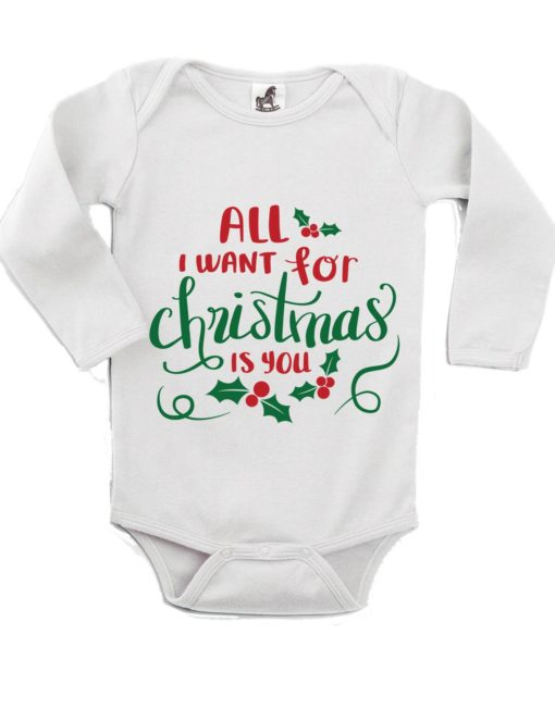 All I Want for Christmas Printed White Christmas Customizable Romper